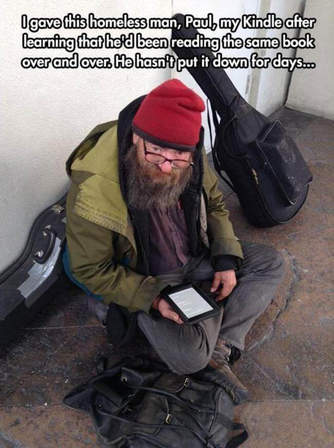 A man who gave something to a homeless man