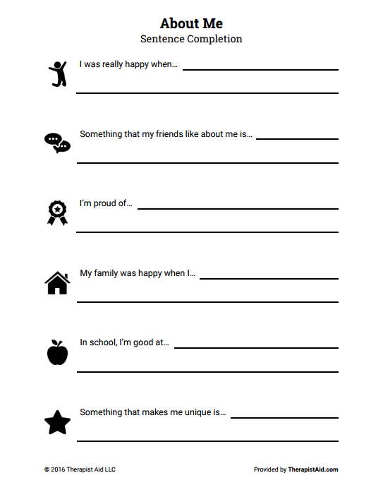 18 Selfesteem Worksheets And Activities For Teens Adults Pdfs. About Me Selfesteem Sentence Pletion. Printable. Printable Self Esteem Worksheets At Clickcart.co