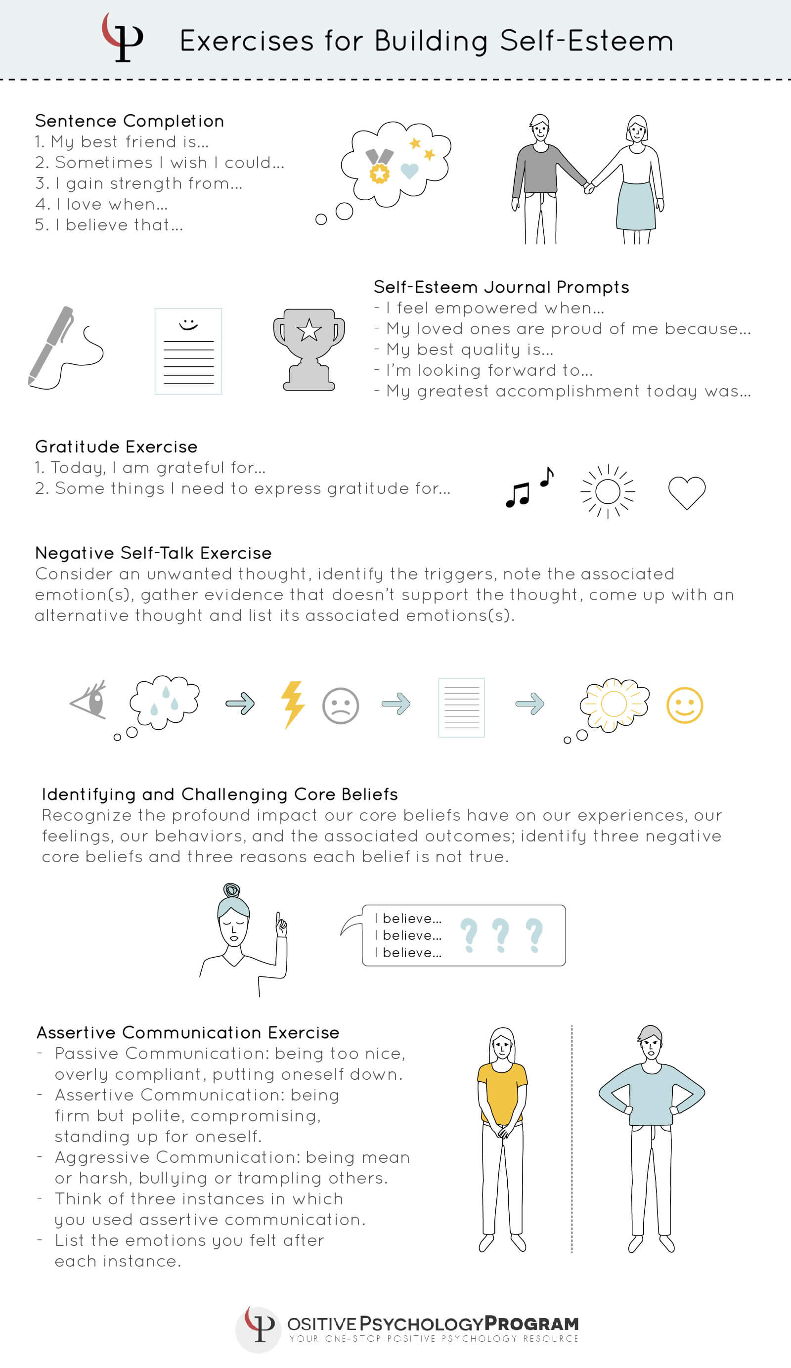 exercises for building self-esteem infographic
