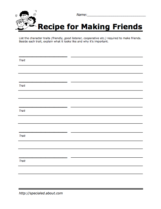 recipe for making friends self esteem worksheet