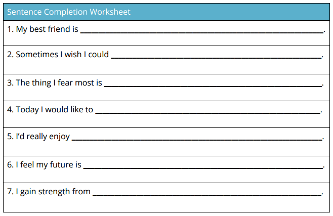 sentence completion worksheet self-esteem