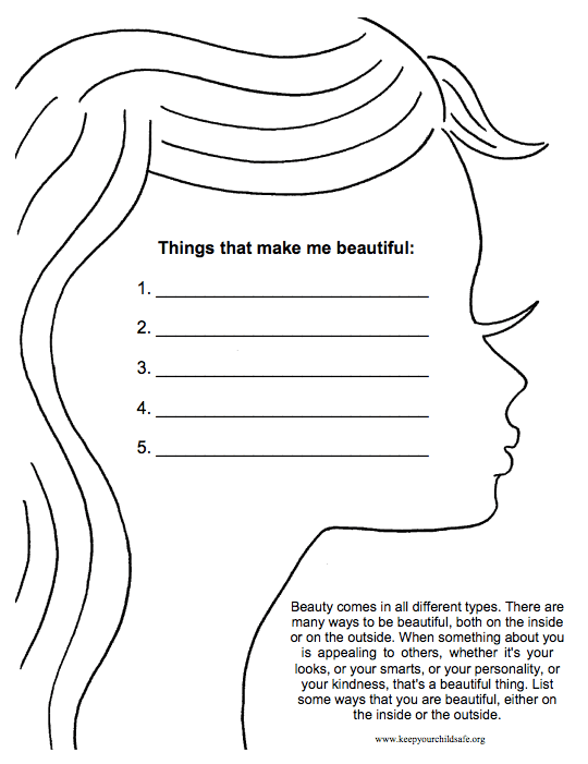 Types of Beauty Worksheet self-esteem worksheets