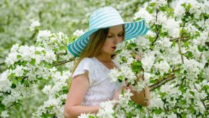 Smelling flowers happiness