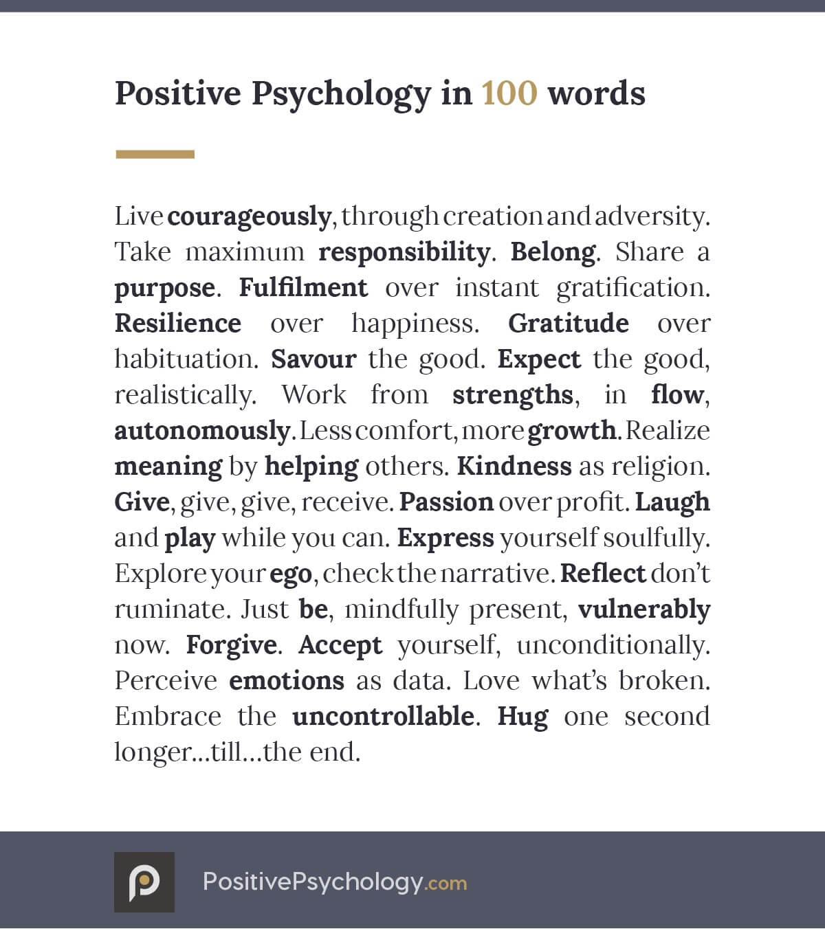 Positive Psychology in a 100 words