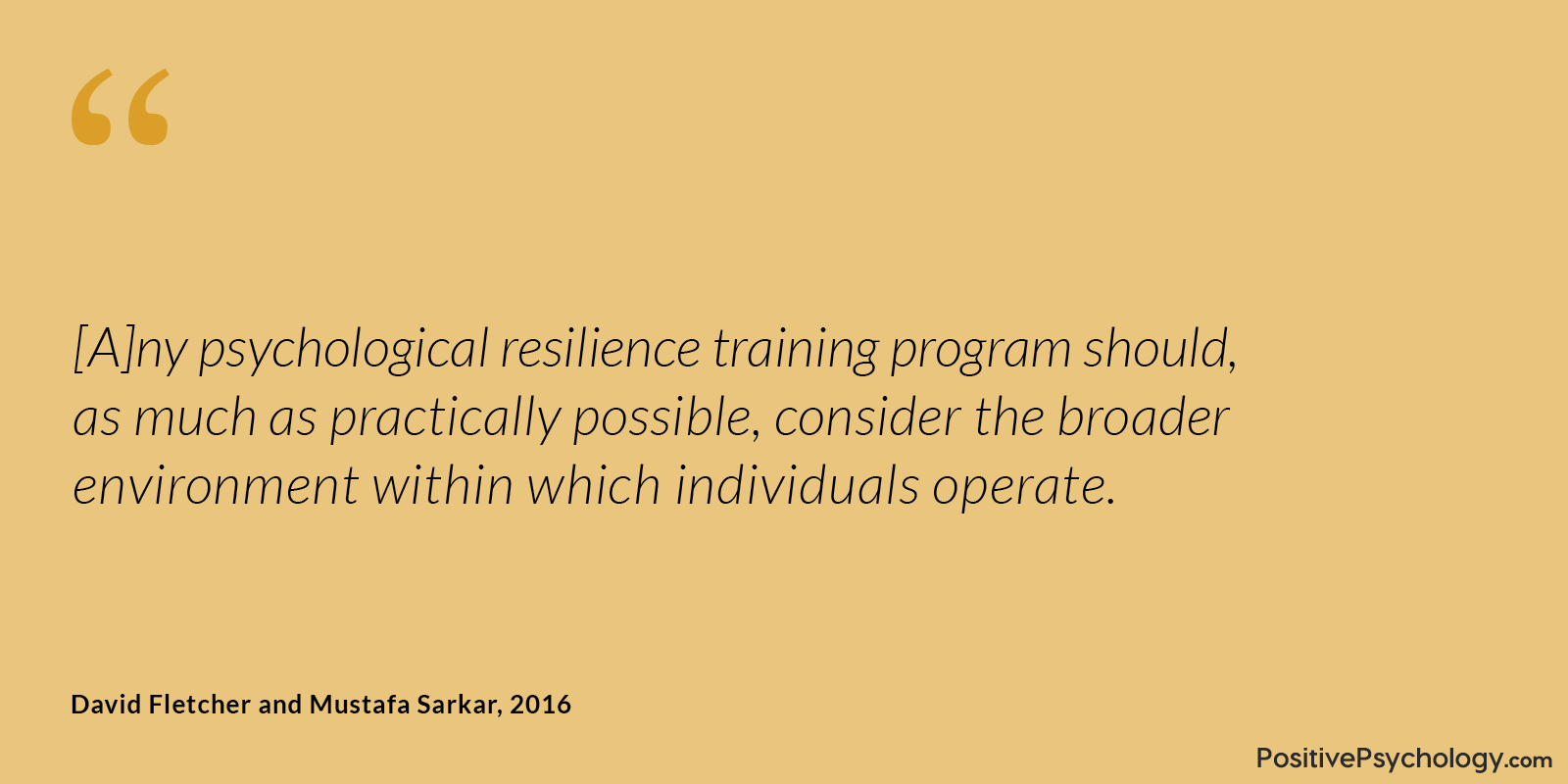 Fletcher and Sarkar Resilience Training Program Quote
