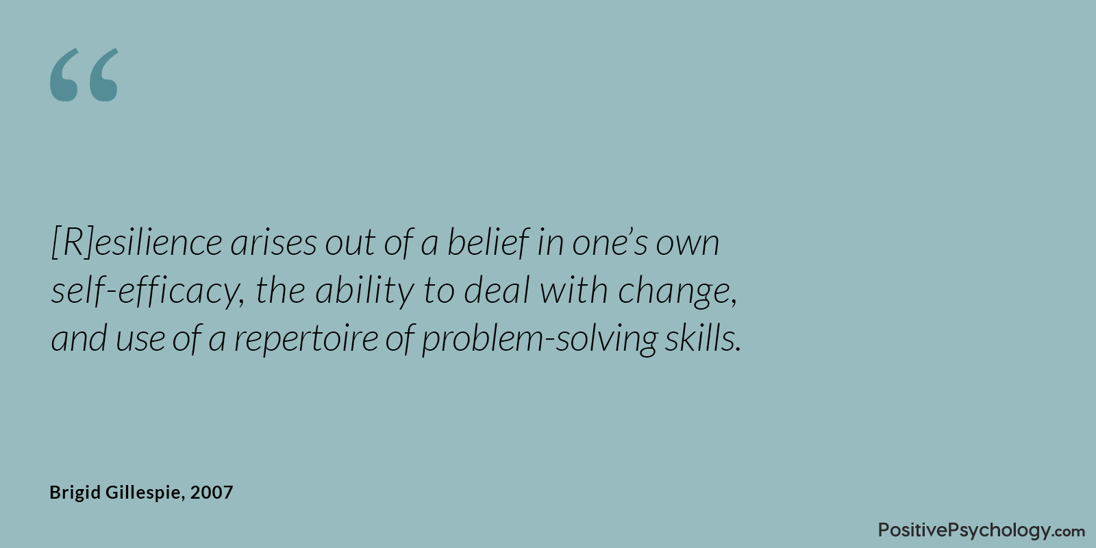 Gillespie and Colleagues Resilience Self-efficacy Belief Quote