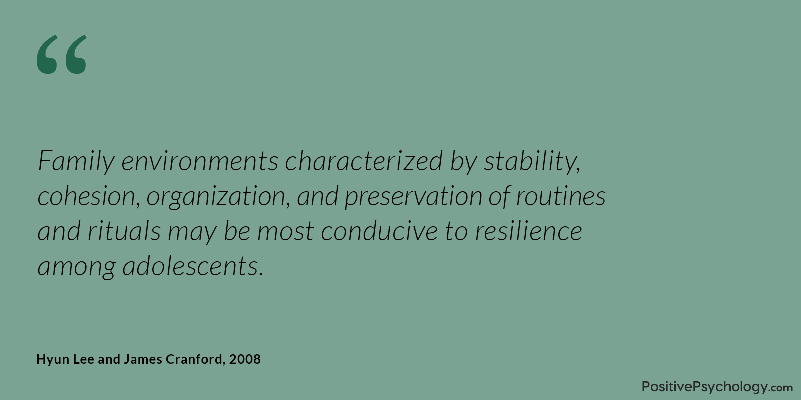Lee and Cranford Resilience Family Environments Quote