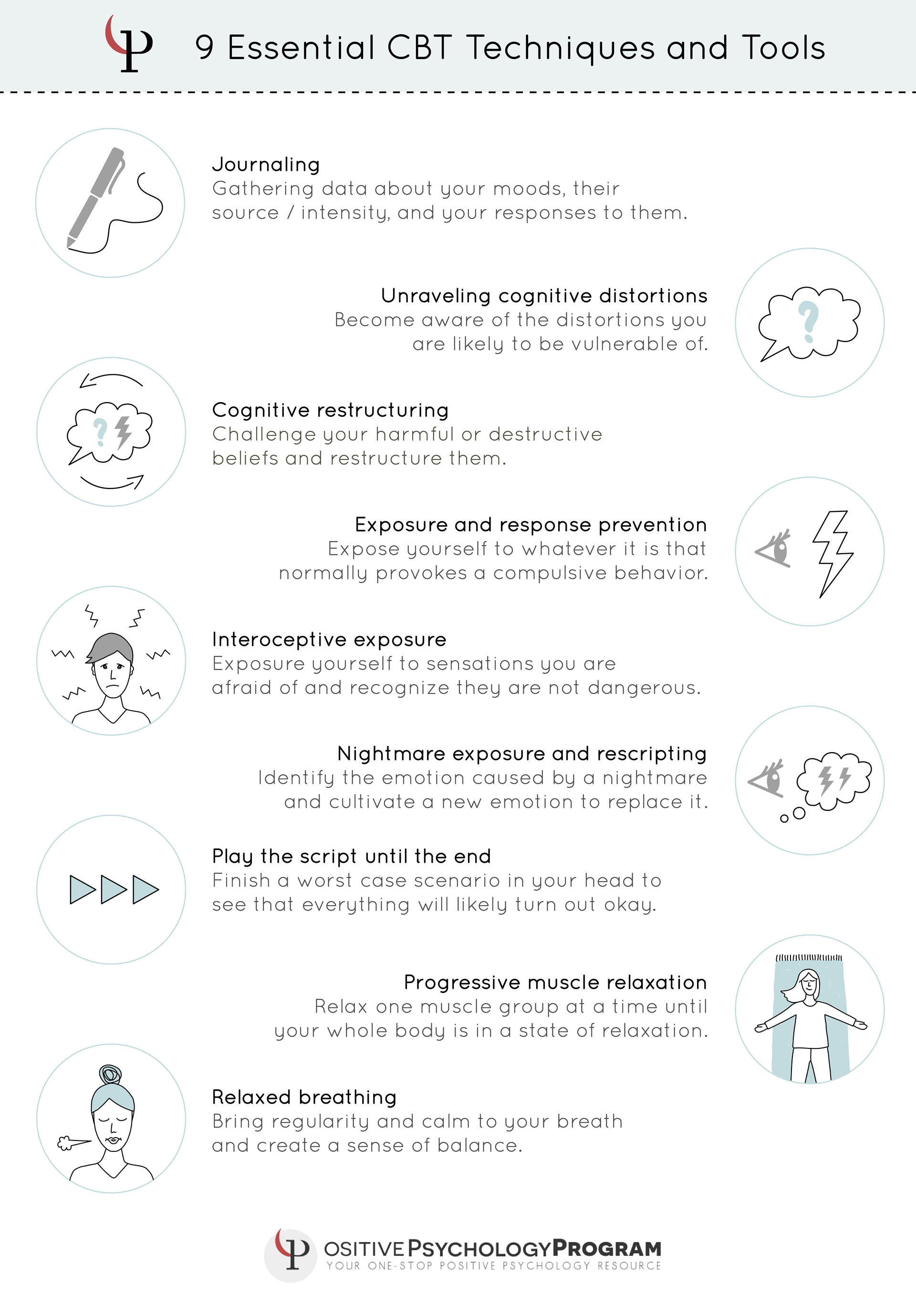 9 Essential CBT Techniques and Tools infographic