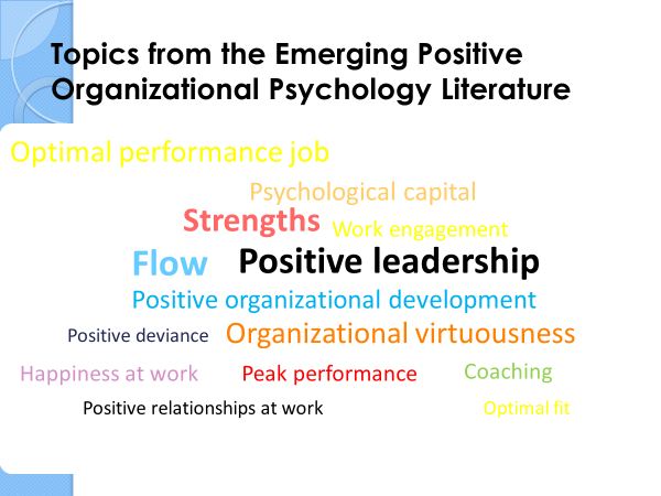 Topics from the emerging positive orgnizational psychology literature
