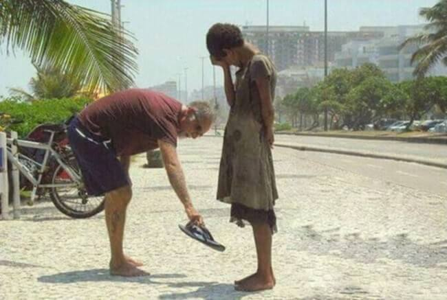 A man who gave the shoes off his feet to this homeless girl