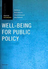 Diener, E., Lucas, R., Schimmack, U., & Helliwell, J. (2009). Well-being for Public Policy. New York- Oxford University Press.