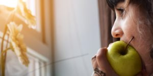 mindfully eating an apple