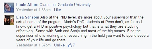 PhD programs in positive psychology facebook